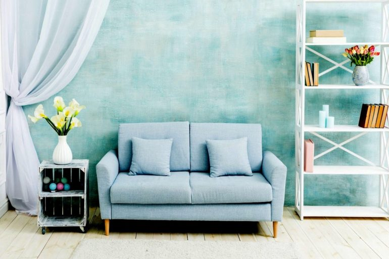 Beautiful home - blue sofa