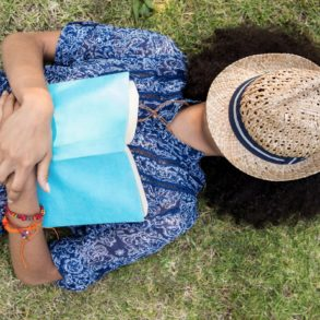 Woman napping on the grass